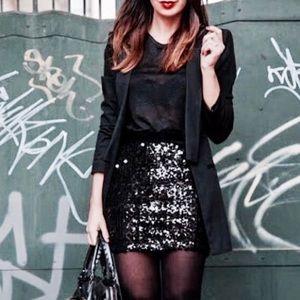 J. Crew black sequins mini skirt size 10